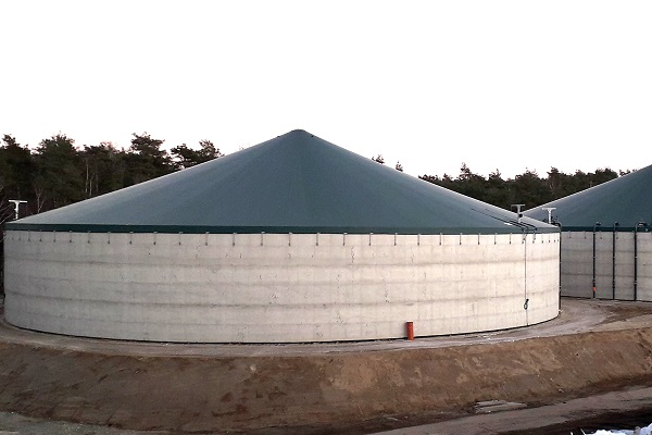 This is a photo of a biogas dome produced in a Forsstrom HF-welding machine.