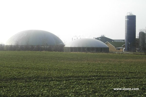 This is a photo of a biogas dome produced in an HF-welding machine.