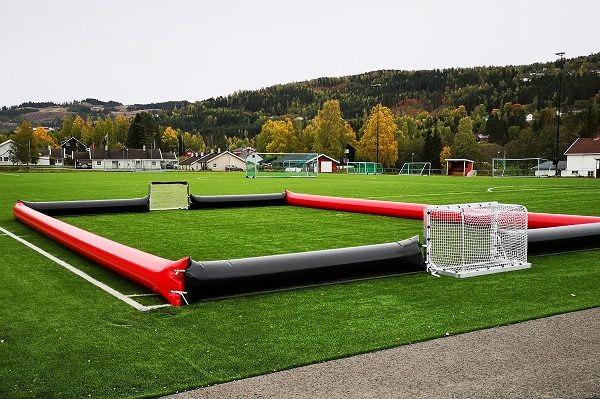 This is a photo of an inflatable football field for kids produced in a Forsstrom HF-welding machine.