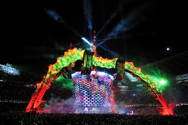 This is a photo of a a lightweight structure made for U2's stage tour, and produced in a Forsstrom HF-welding machine.