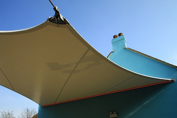 This is a photo of a sunshade produced in a Forsstrom HF-welding machine.