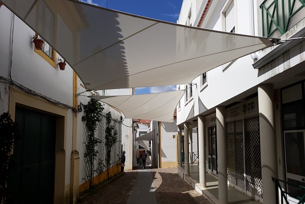 This is a picture of a sun shade structure made in a Forsstrom HF-welding machine.