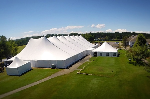 This is a photo of a large tent produced in a Forsstrom HF-welding machine.