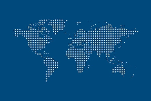 This is a picture of the world map, with Sweden in the center.